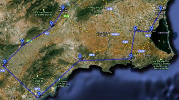 Marcha provisional de la ruta por los municipios.